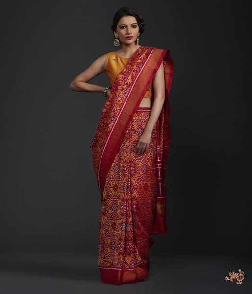 Pure Silk Gujarat Patola Saree In Mustard And Red Combination Saree
