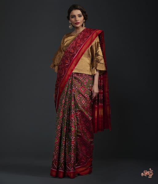 Pure Silk Gujarat Patola Saree In Green And Red Traditional Design Saree