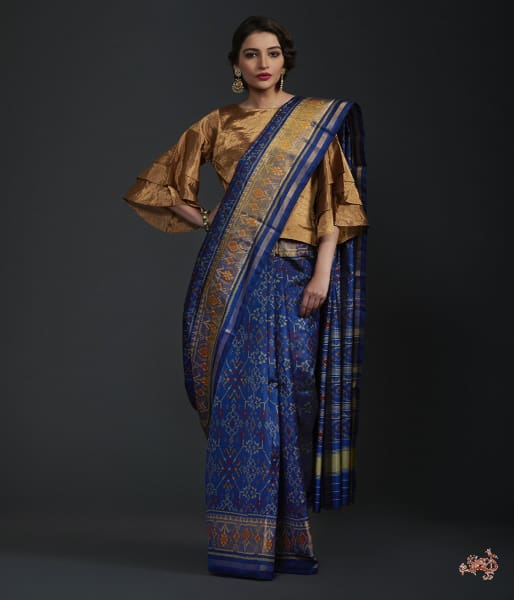 Royal Blue Single Ikat Patola Saree With Tissue Border Saree