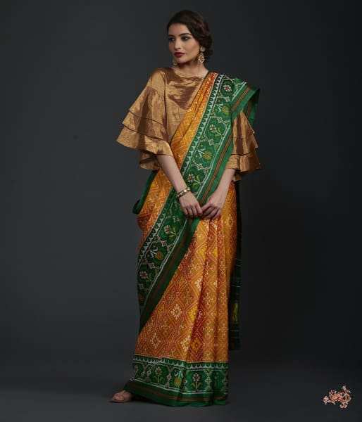 Pure Silk Gujarat Patola Saree In Yellow And Green Saree