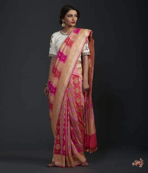 Peach Pink And Majenta Khaddi Jangla With Rangkat Dye Saree