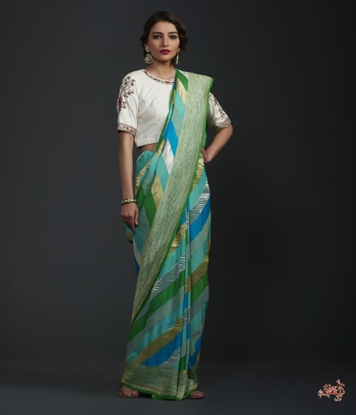 Green And Blue Khaddi Jangla With Rangkat Dye Saree