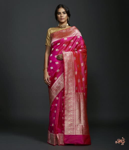 Rani Pink Kadhwa Elephant Boota Saree With Shikargah Border Saree