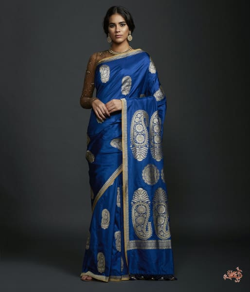 Blue Kadhwa Bbanarasi Saree With Kairi Boota Saree