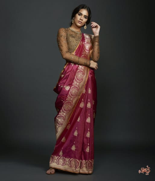 Wine Floral Border Saree With Kadhwa Booti And Mustard Selvedge Saree