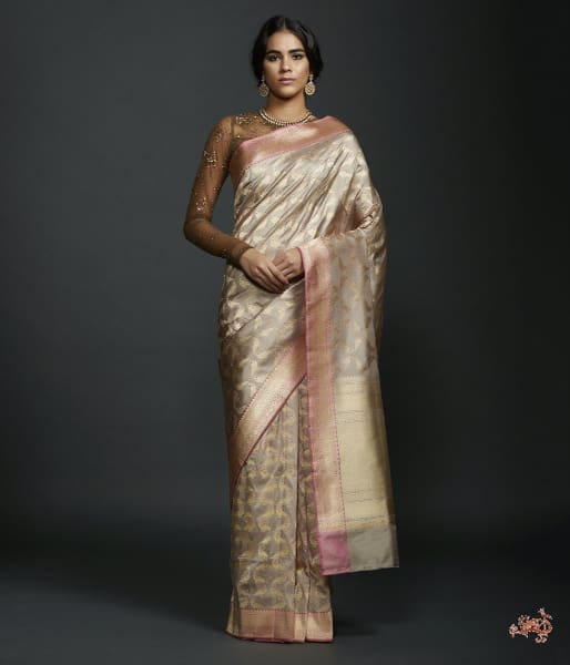 Grey Katan Silk Jangla Saree With Kadhwa Bird Motifs And Pink Border Saree