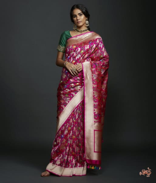 Hot Pink Shikargah Saree With Zari Border Saree