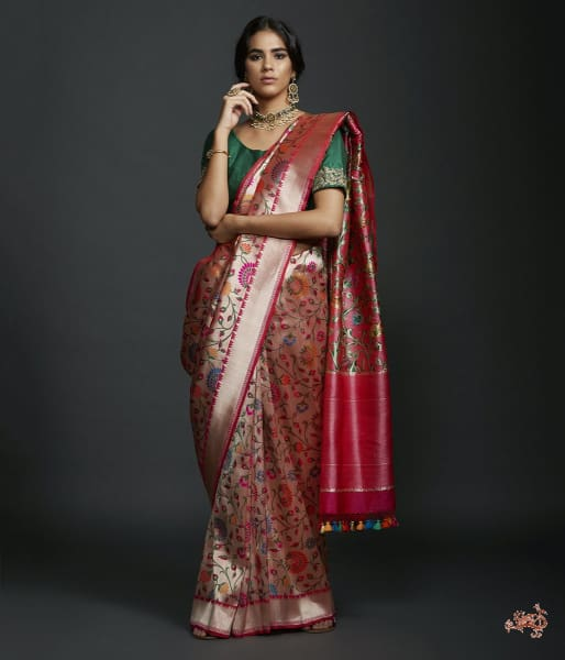 Handwoven Banarasi Kimkhab Saree With Intricate Meenakari Saree