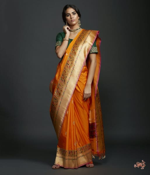 Orange Yellow Dual Tone Meenakari Border Saree With Kadhwa Booti And Pink Selvedge Saree