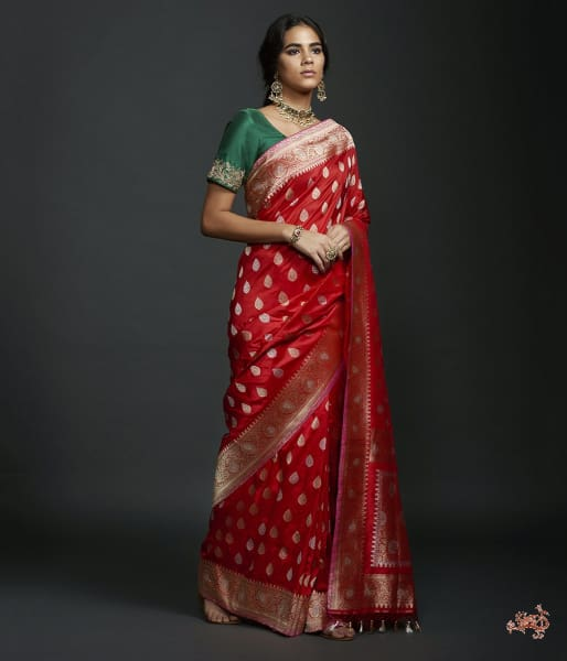 Red Kadhwa Booti Saree With Gold And Silver Zari Saree