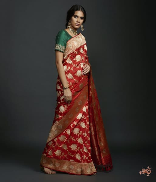 Red Kadhwa Jangla With Sona Rupa Zari And Badla Detailings Saree
