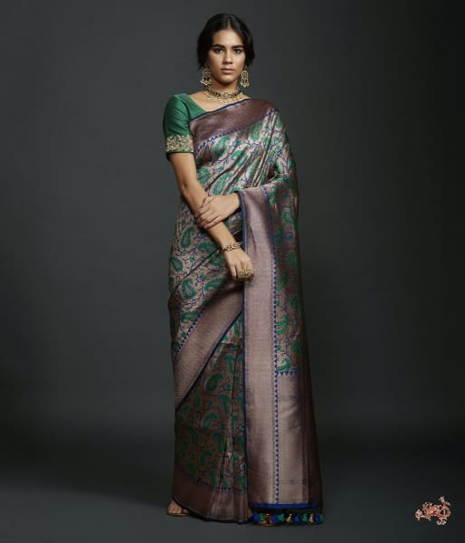 Green Kimkhab Saree With Antique Zari And Meenakari Saree