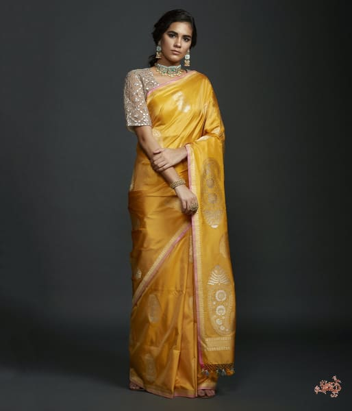 Mustard Kadhwa Bbanarasi Saree With Kairi Boota Saree