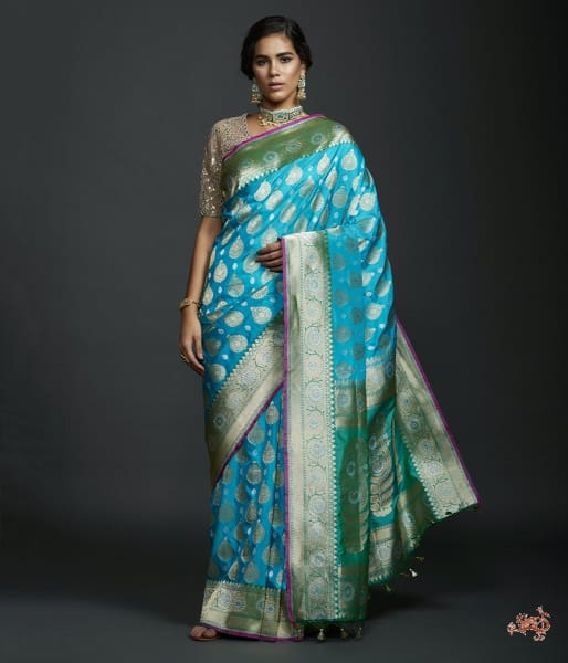 Turquoise Blue Dual Tone Kadhwa Bbanarasi Saree With Green Borders Saree