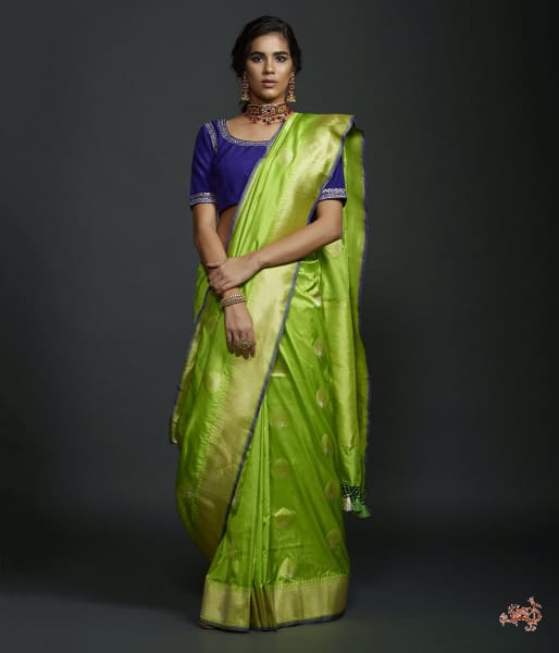 Neon Green Kadhwa Booti Saree With Zari Border And A Blue Selvedge Saree