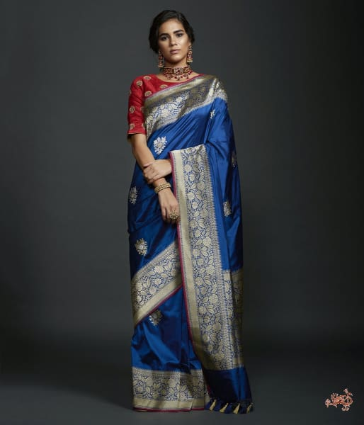 Royal Blue Kadhwa Booti Saree With Beldaar Border Saree