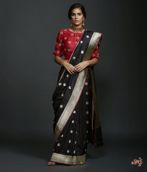Black Kadhwa Banarasi Saree With Konia Pallu Saree