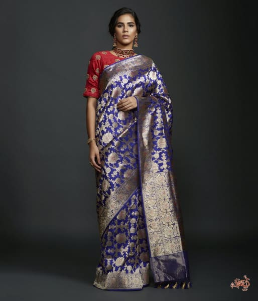 Royal Blue Sona Rupa Kadhwa Jangla With Intricate Floral Jaal And Pink Meenkari Detailing Saree
