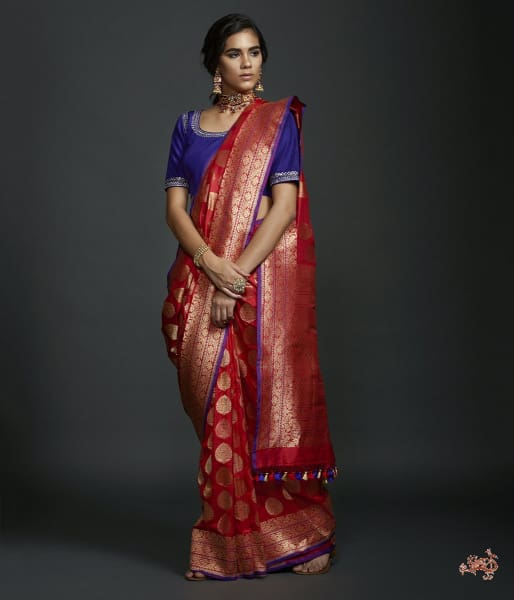 Red Kadhwa Booti Saree With Gold Zari Motifs And A Purple Selvedge Saree
