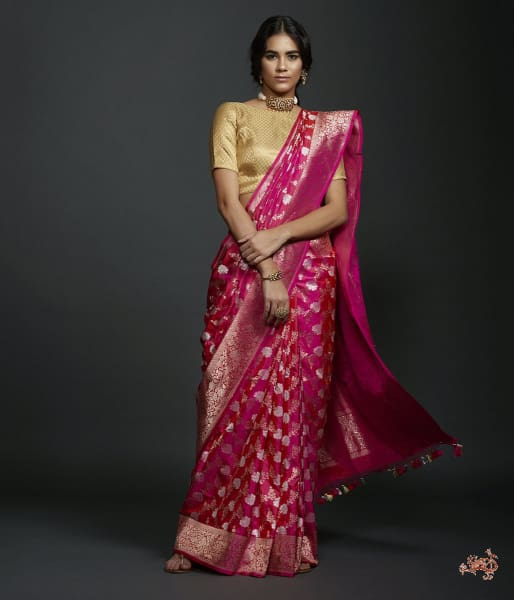 Hot Pink Dual Tone Sona Rupa Kadhwa Jangla With Zari Saree