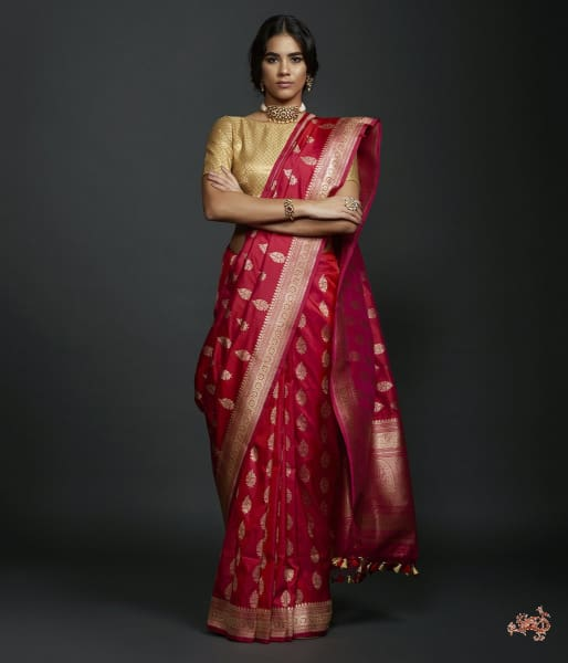 Pink And Red Dual Tone Kadhwa Booti Saree With Beldaar Border Saree