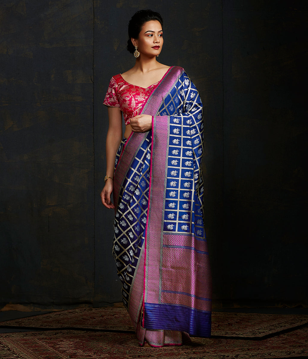 Navy Blue katan silk jangla with checks and small bird motifs