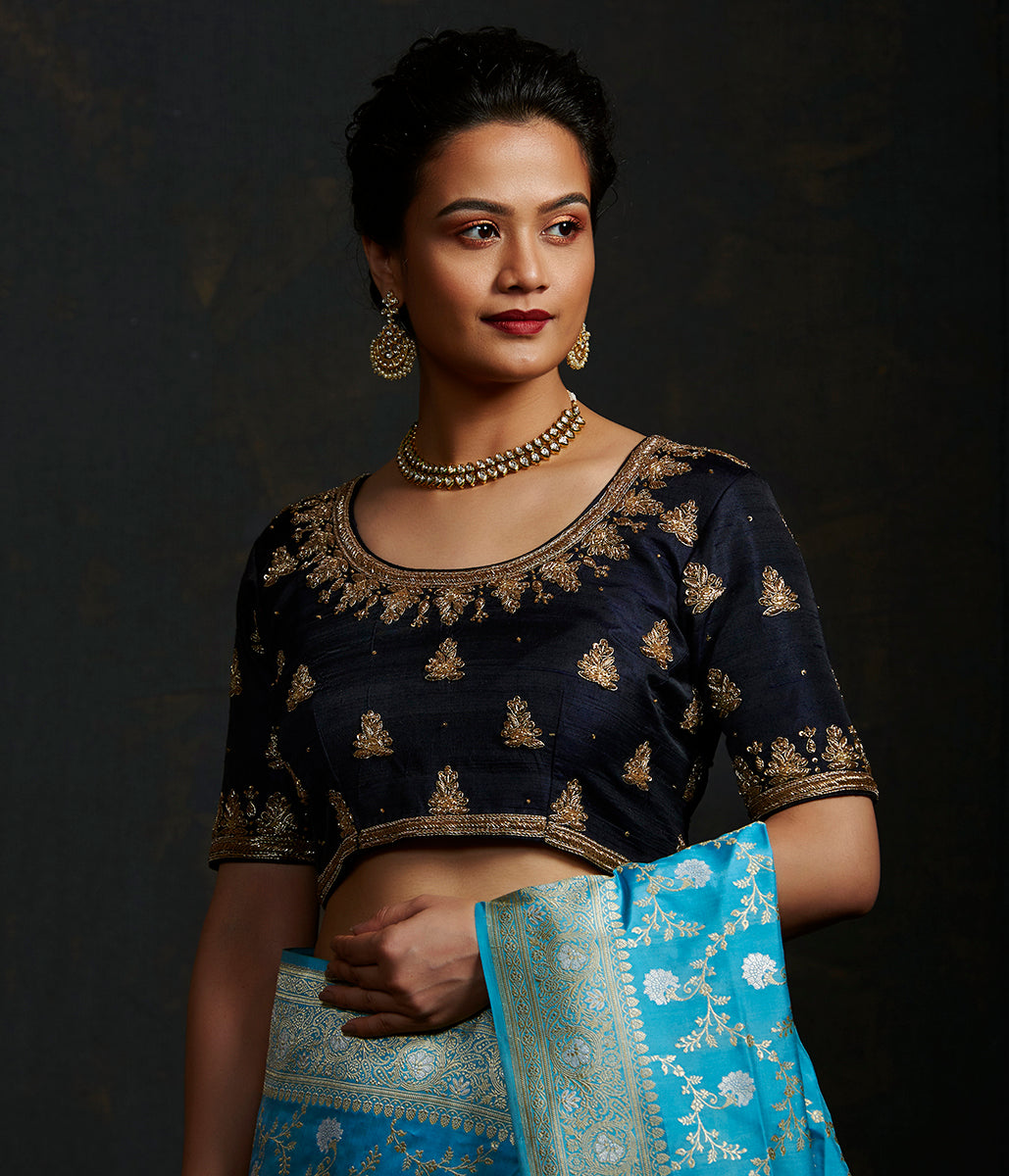 Black Raw Silk Blouse with Zardozi Embroidery