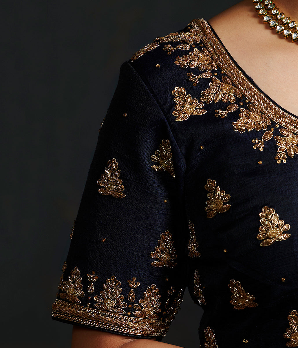 85783963d05e4 Black raw silk blouse with zardozi embroidery