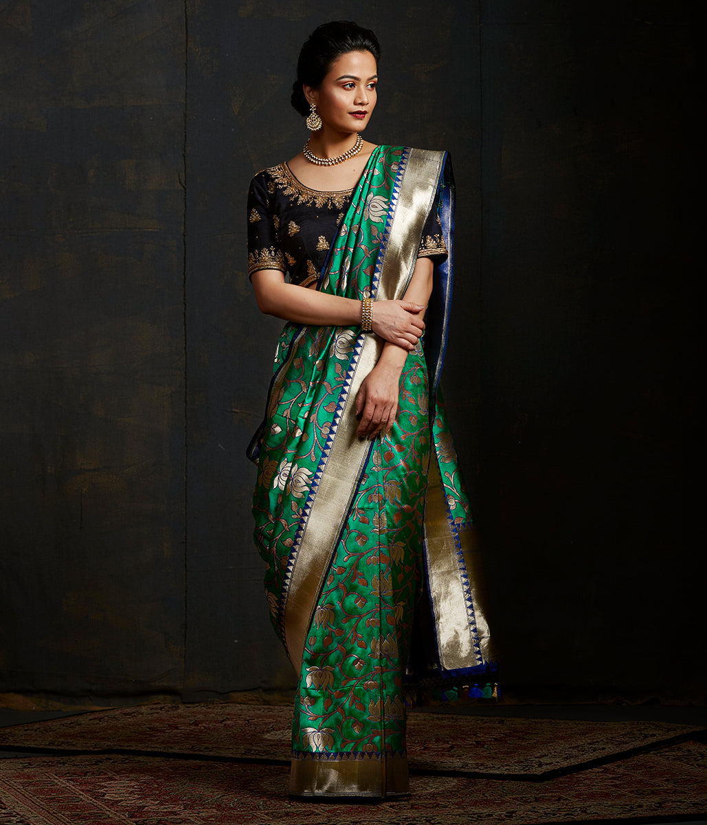 Emerald Green brocade jangla with lotus flower motifs in zari