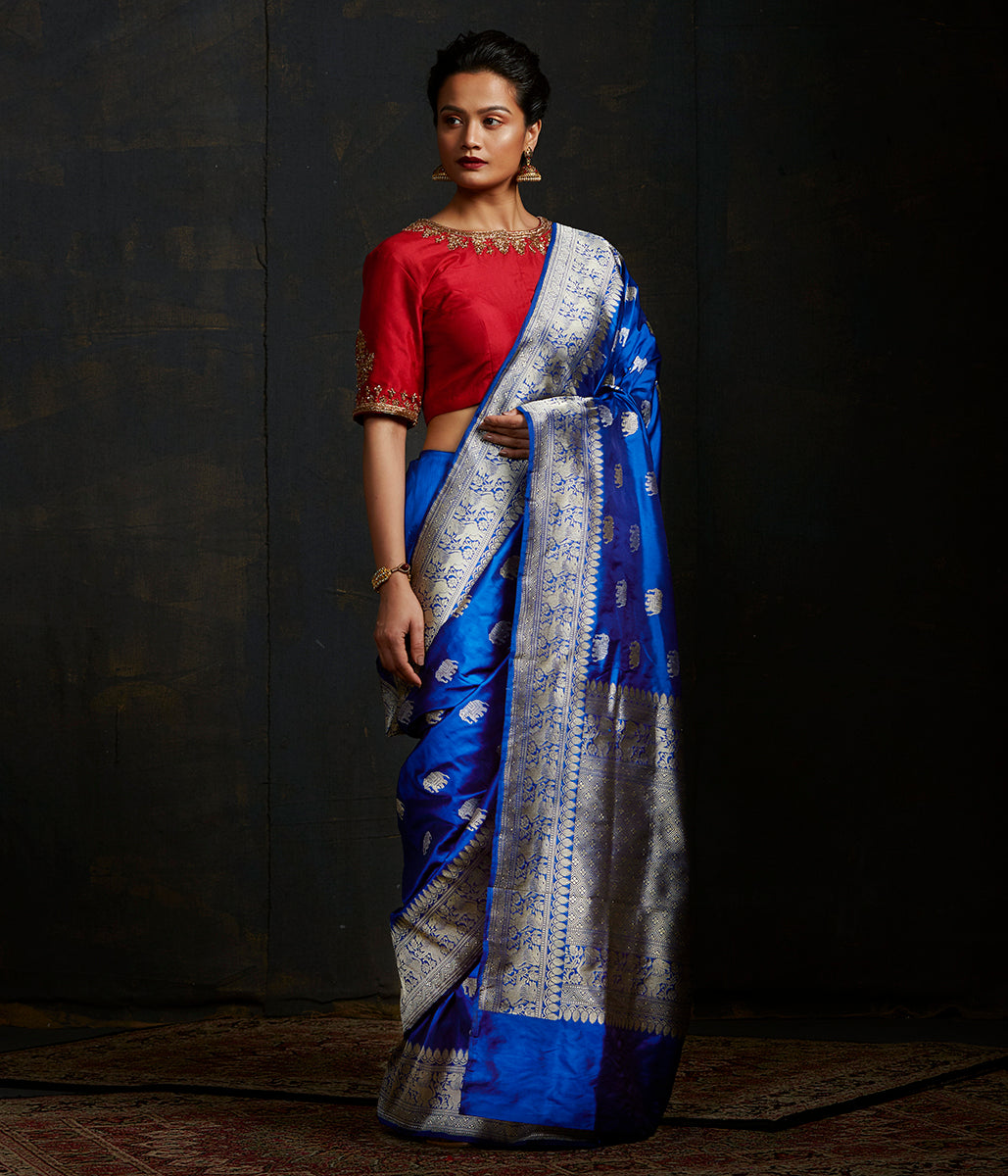 Blue kadhwa elephant boota saree with shikargah border