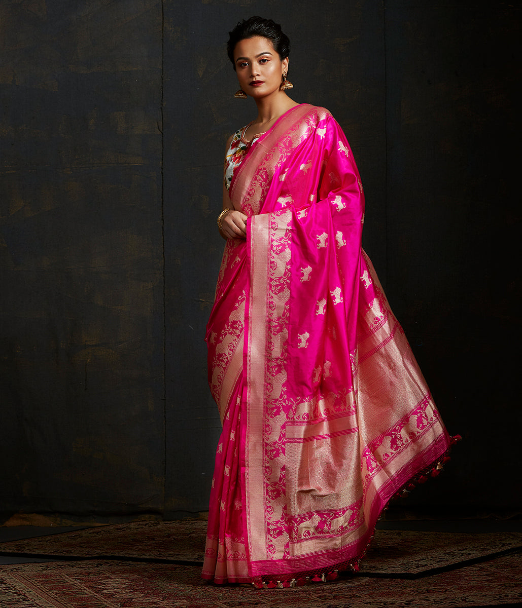 Hot Pink kadhwa  boota saree with lion motifs and rich shikargah border
