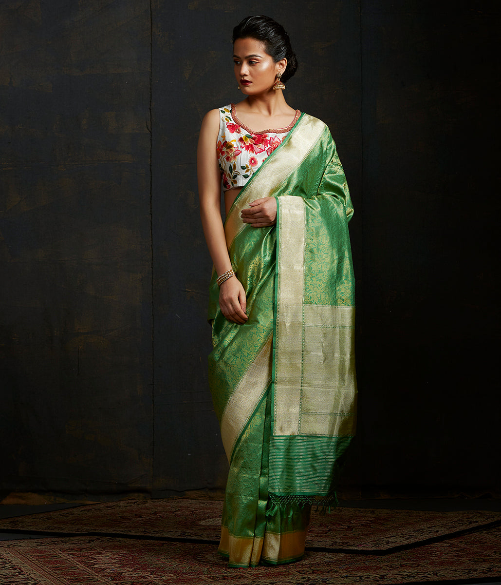 Forest Green Kimkhab Shikargah saree
