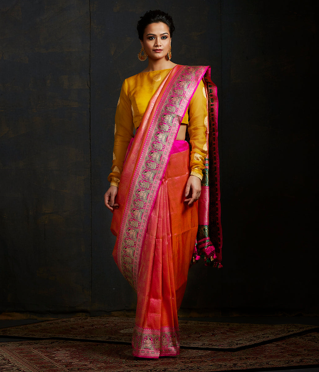 Orange and pink kimkhab shikargah with meenakari mughal border