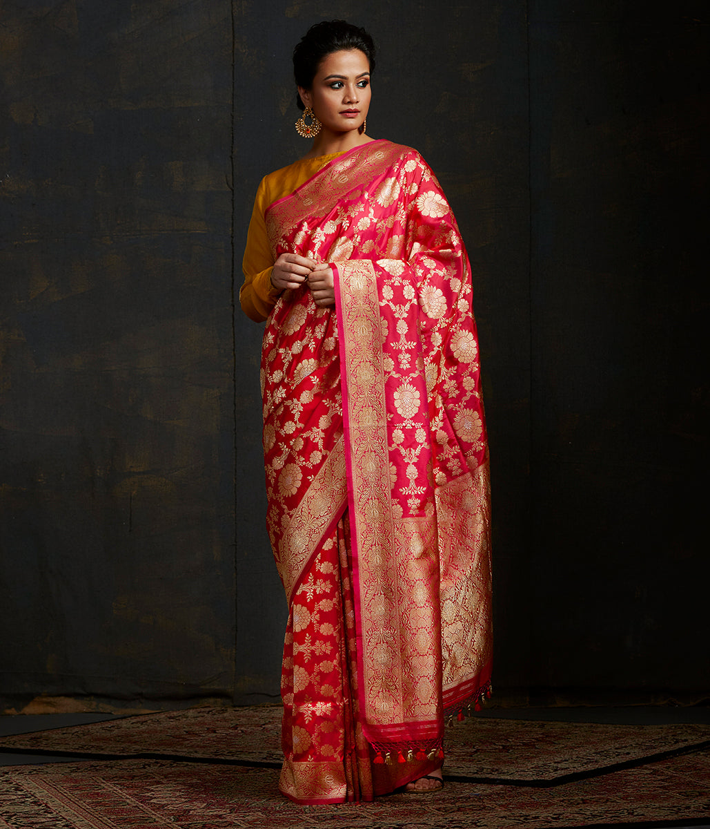 Rani pink and Red sona rupa kadhwa jangla with intricate floral jaal