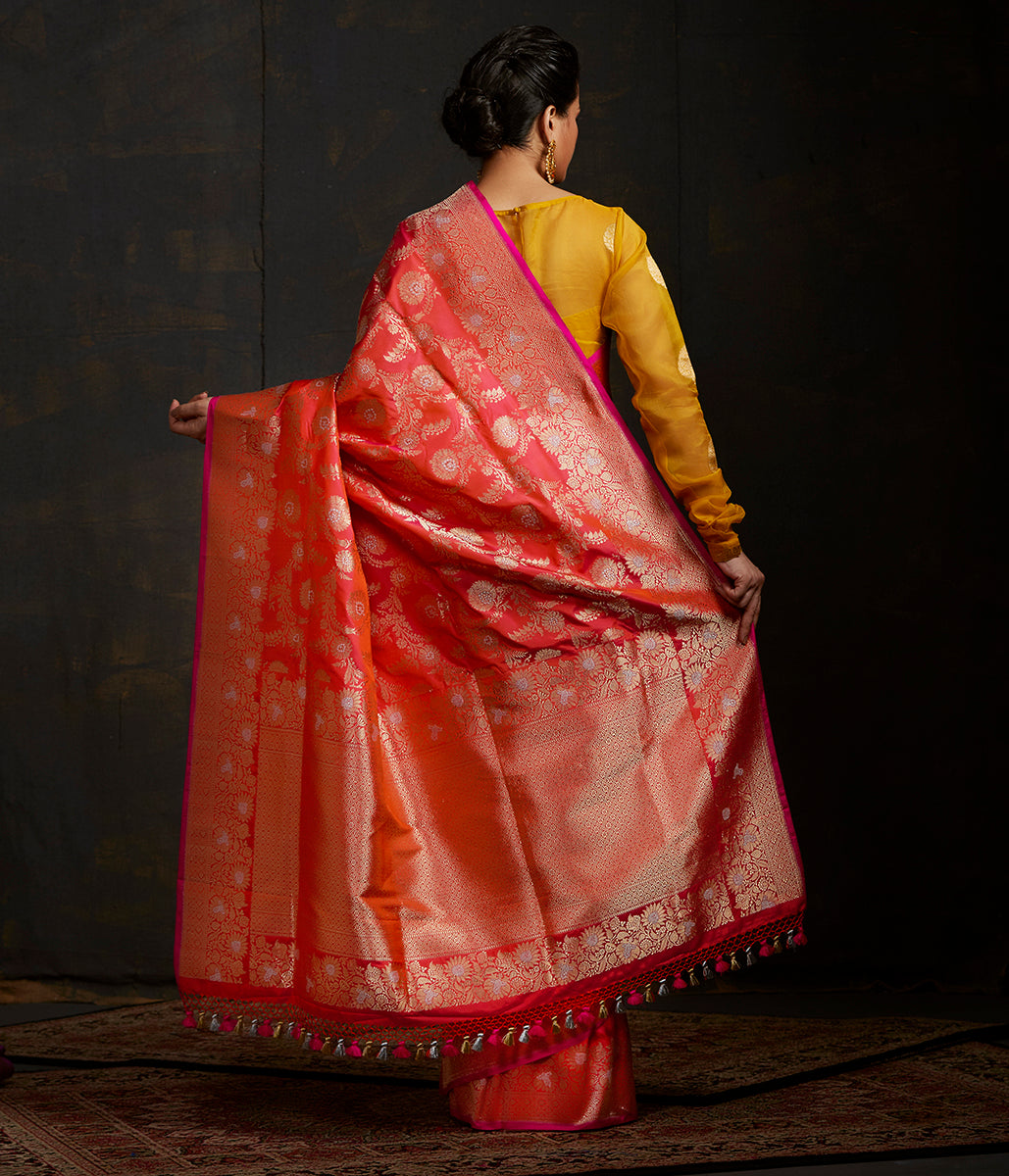 Handwoven sona rupa kadhwa jangla in Pink and orange dual tone