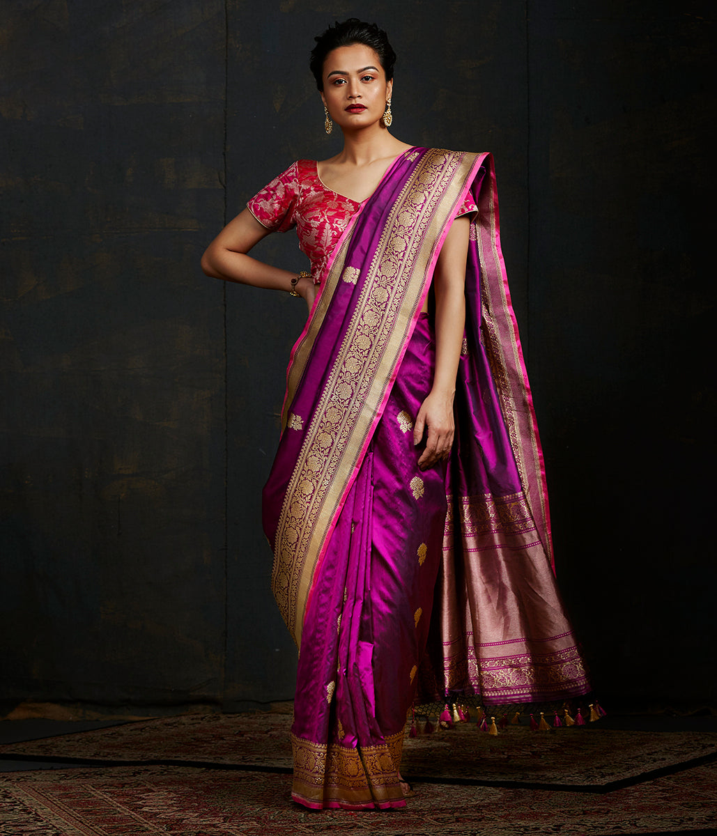 Handwoven kadhwa banarasi saree in purple with floral motifs woven in gold zari