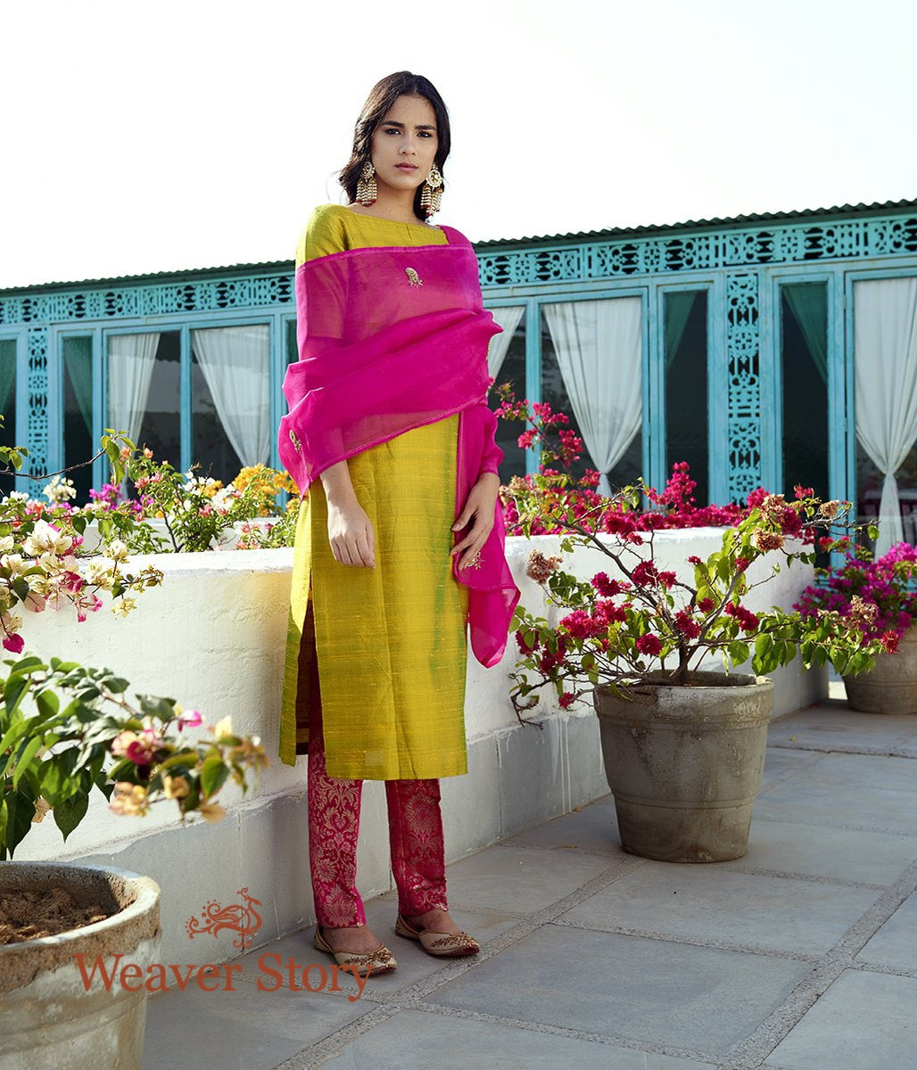 Green Raw Silk Kurta with Pink Pants and Pink Hand Embroidered Organza Dupatta