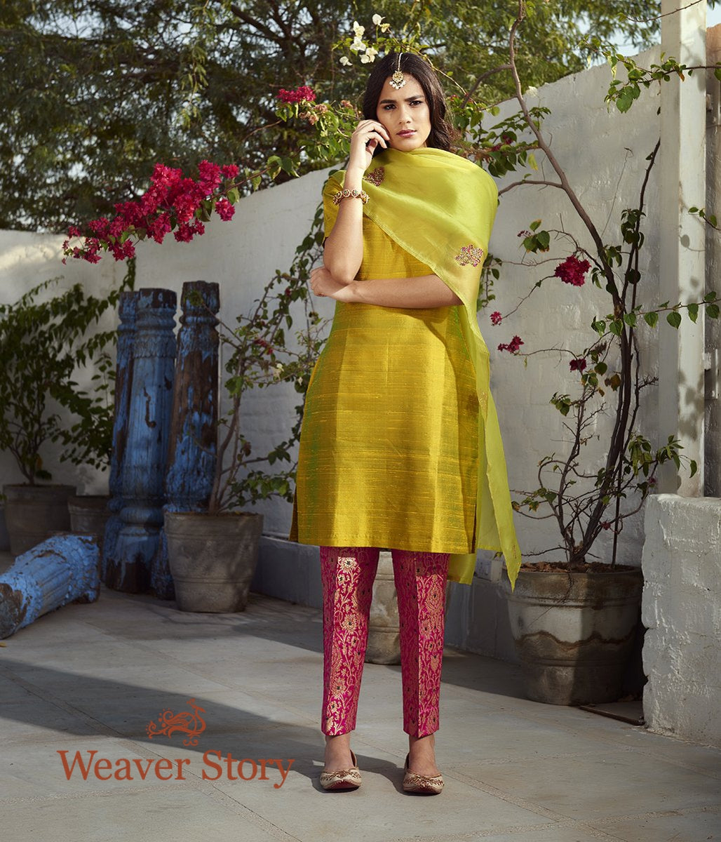 Green Raw Silk Kurta with Pink Pants and Green Hand Embroidered Organza Dupatta