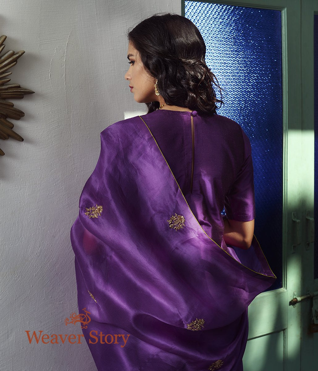 Purple Dupion Silk Suit with Hand Embroidered Dupatta