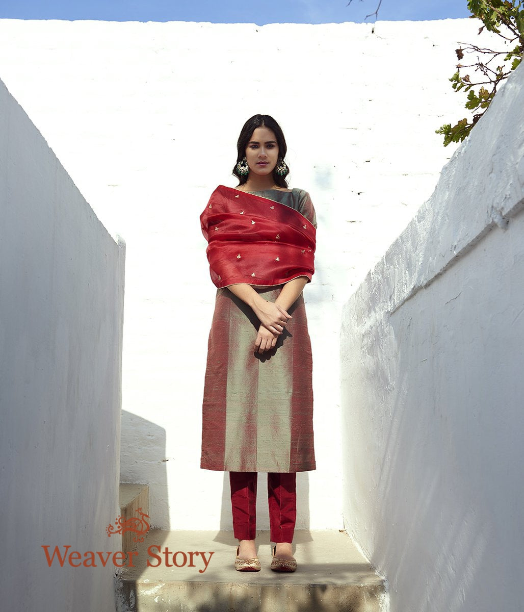 Maroon and Green Dual Tone Raw Silk Kurta with Maroon Pants and Maroon Hand Embroidered Organza Dupatta