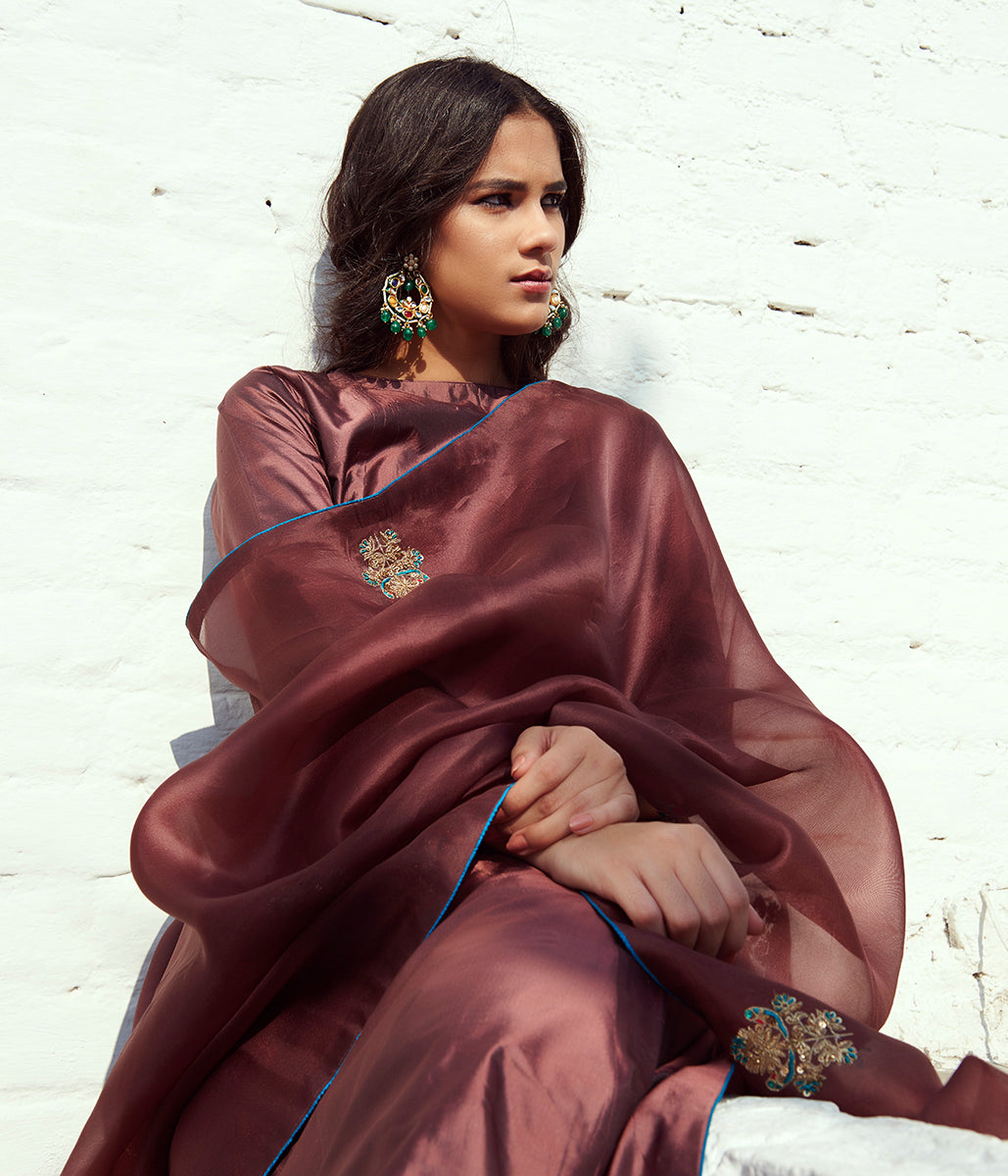 Hand embroidered pure silk suit in chocolate brown color with Hand embroidery