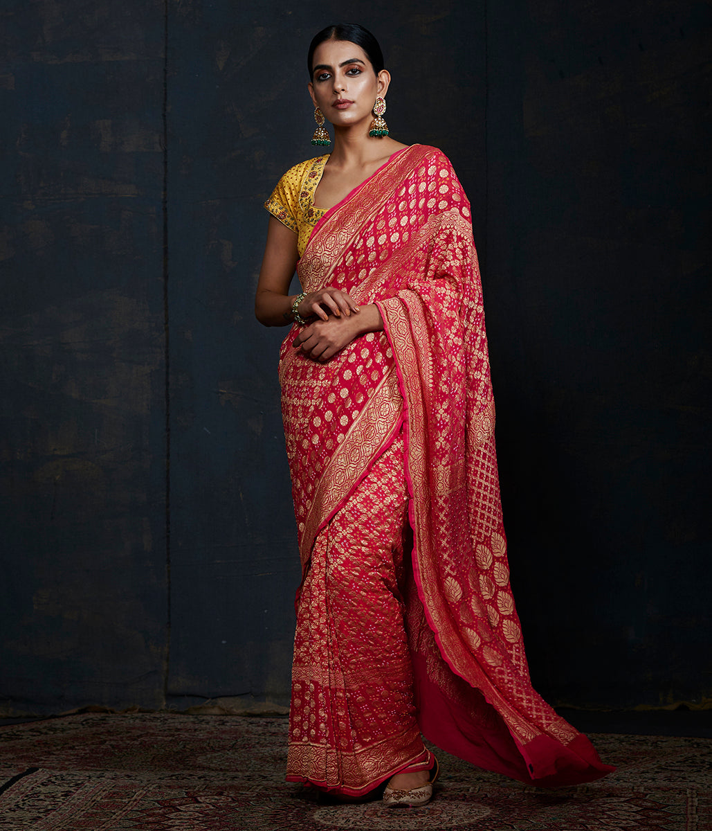 Handwoven Banarasi Bandhej Saree in Pink and peach ombre dye