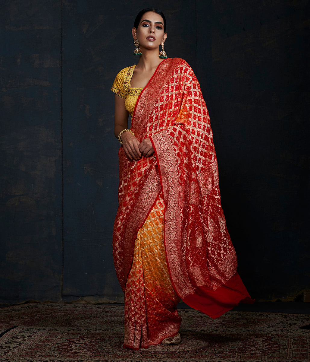 Handwoven Banarasi Bandhej Saree in red and orange ombre dye