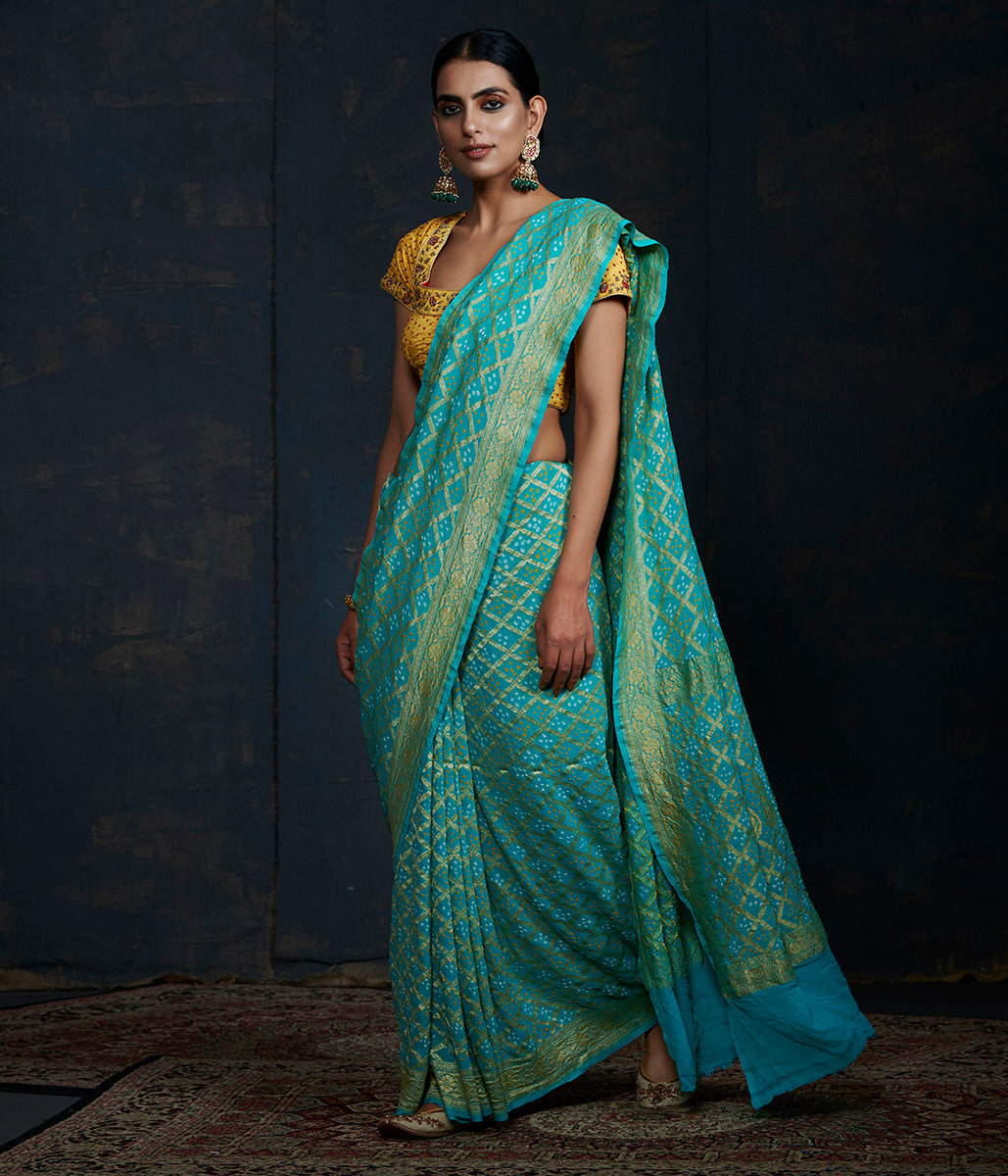 Handwoven Banarasi Bandhej Saree in Turquoise color