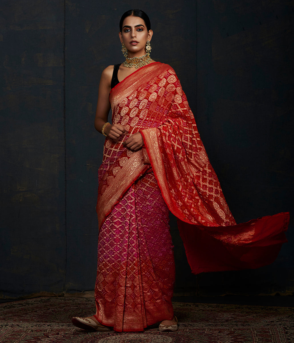 Handwoven Banarasi Bandhej Saree in Red and Pink ombre dye
