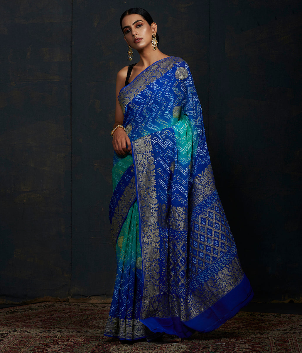 Handwoven Banarasi Bandhej Saree in Royal blue and turquoise ombre dye