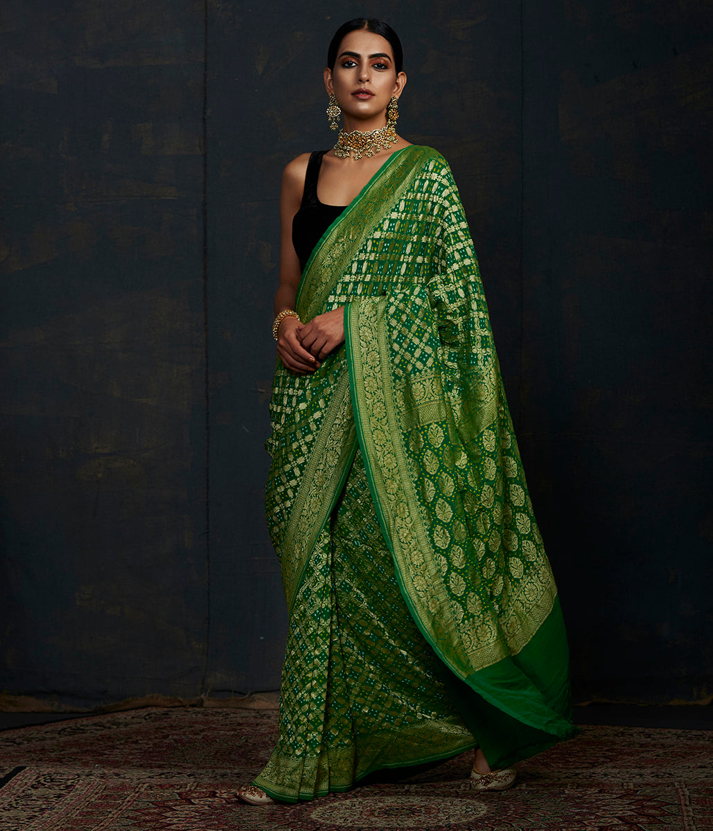 Handwoven Banarasi Bandhej Saree in emerald green