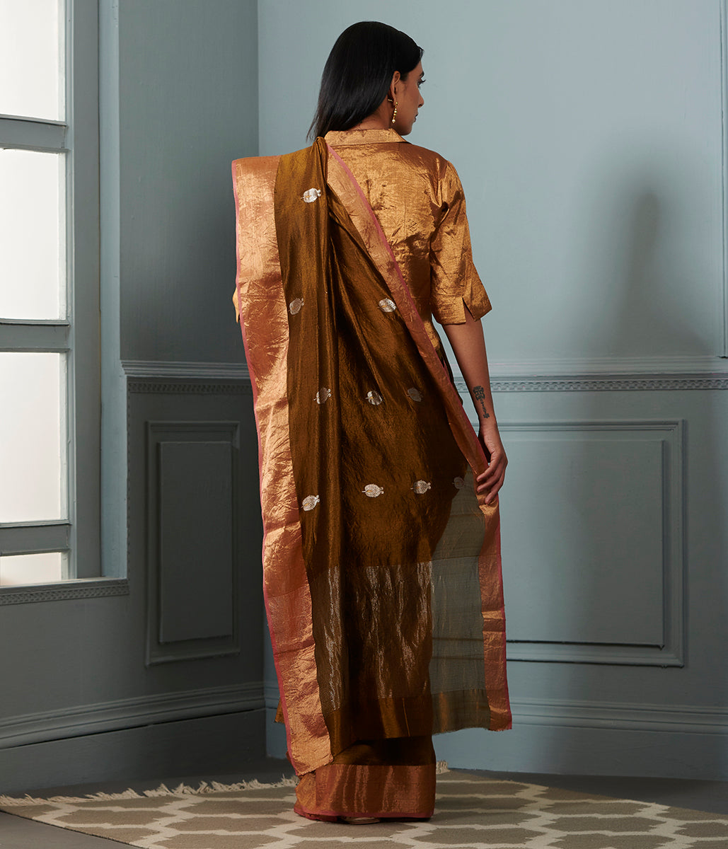 opaque couché chanderi silk saree with zari boota and bronze zari border