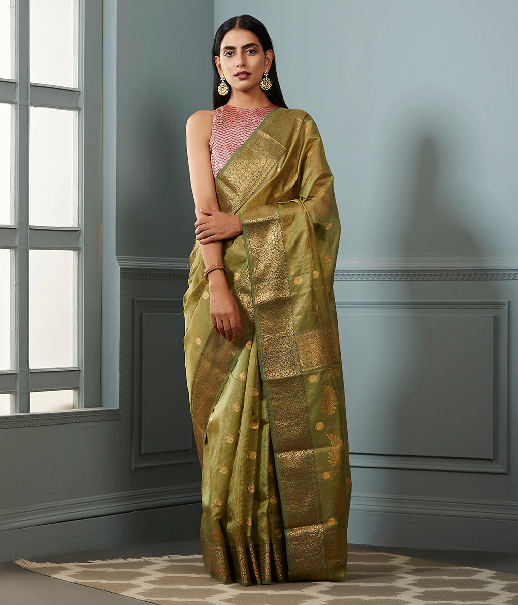 Pista green Chanderi tissue silk saree with asharfi booti and meenakari