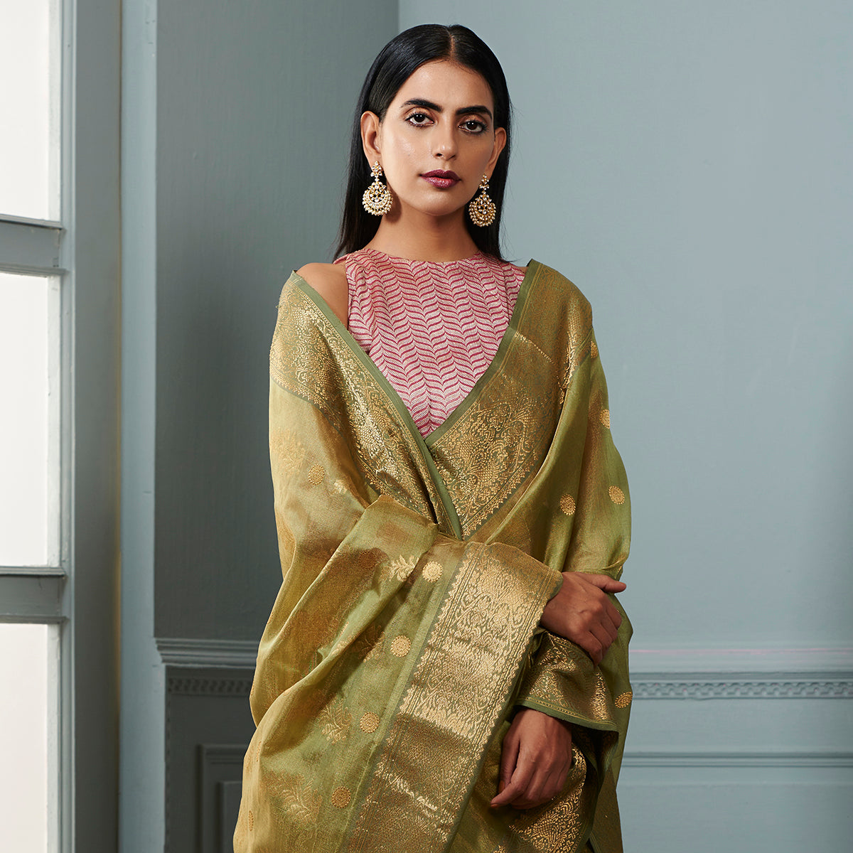 c2da1e43f6 Pista green Chanderi tissue silk saree with asharfi booti and meenakar -  WeaverStory